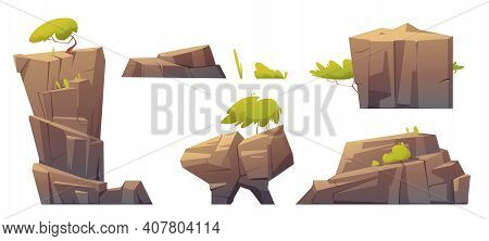 Mountain Rocks, Island Or Stones With Green Trees And Plants, Natural Elements, Geological Materials
