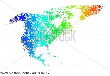 Rainbow Gradient Mosaic Of North America And Greenland Map Designed For Christmas Sales. North Ameri