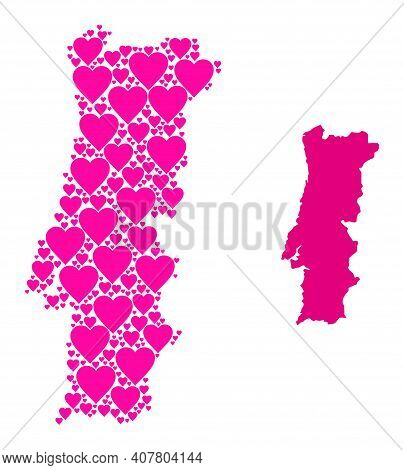 Love Mosaic And Solid Map Of Portugal. Mosaic Map Of Portugal Is Designed With Pink Lovely Hearts. V