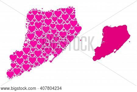 Love Collage And Solid Map Of Staten Island. Collage Map Of Staten Island Composed With Pink Love He