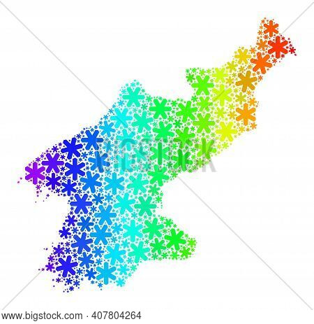 Spectrum Gradient Mosaic Of North Korea Map Designed For New Year Sales. North Korea Map Mosaic Is F