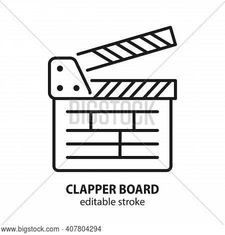 Movie Clapper Board Line Vector Icon. Symbol Of Cinema. Sign Of Filmmaking In The Form Of A Clapboar