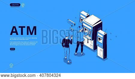 Atm Banner. Automated Teller Machine, Terminal For Withdraw Money Cash, Transactions And Payments. V