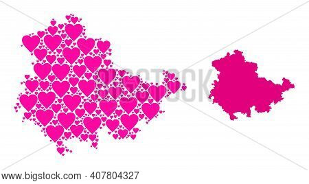 Love Collage And Solid Map Of Thuringia State. Collage Map Of Thuringia State Is Designed With Pink