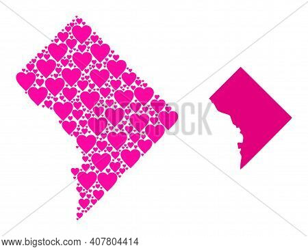 Love Collage And Solid Map Of Washington Dc. Collage Map Of Washington Dc Is Formed With Pink Love H