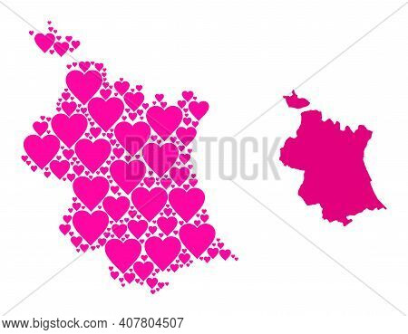 Love Collage And Solid Map Of Valencia Province. Mosaic Map Of Valencia Province Formed With Pink He