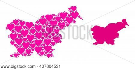 Love Mosaic And Solid Map Of Slovenia. Mosaic Map Of Slovenia Created With Pink Lovely Hearts. Vecto