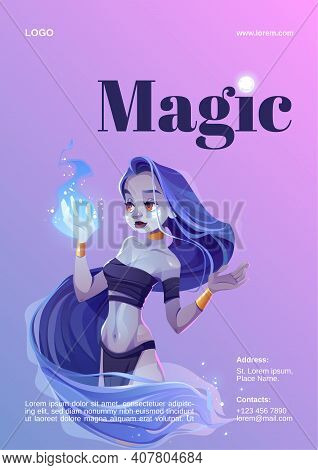 Magic Show Poster With Mystic Girl Hold Blue Fire On Hand. Vector Flyer With Cartoon Illustration Of
