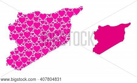 Love Collage And Solid Map Of Syria. Mosaic Map Of Syria Is Formed With Pink Lovely Hearts. Vector F