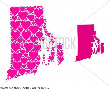 Love Mosaic And Solid Map Of Rhode Island State. Mosaic Map Of Rhode Island State Is Designed With P