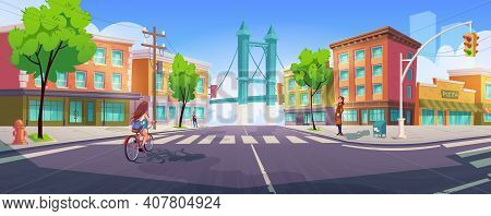 People On City Street With Crossroad, Buildings And Bridge. Citizen On Transport Intersection Crossi