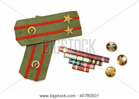 Epaulettes, Medal Ribbon And Buttons