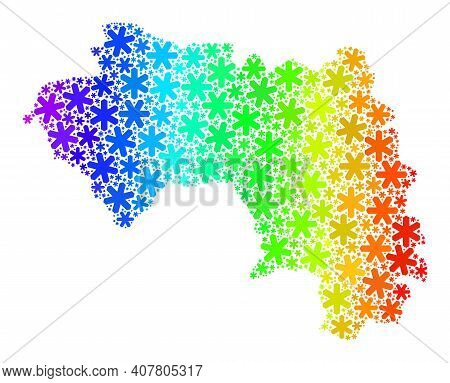 Spectrum Gradient Composition Of Republic Of Guinea Map Created For New Year Sales. Republic Of Guin