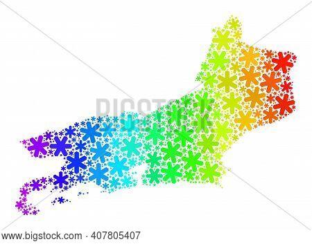 Spectrum Gradient Collage Of Rio De Janeiro State Map Combined For Winter Celebration. Rio De Janeir