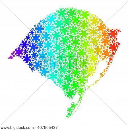 Spectrum Gradient Collage Of Rio Grande Do Sul State Map Constructed For Winter Celebration. Rio Gra