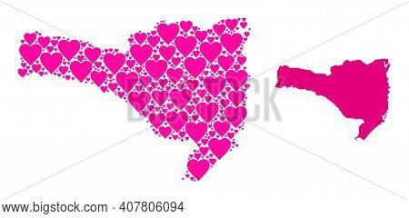 Love Pattern And Solid Map Of Santa Catarina State. Collage Map Of Santa Catarina State Is Formed Wi