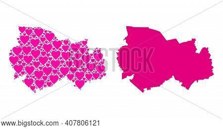Love Mosaic And Solid Map Of Novosibirsk Region. Mosaic Map Of Novosibirsk Region Is Formed With Pin