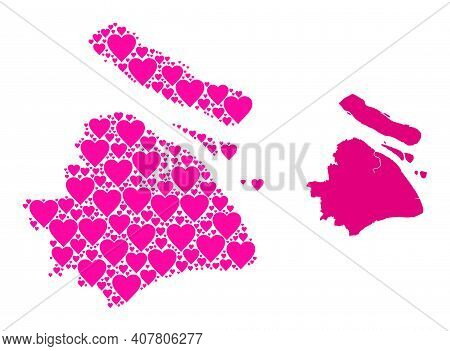 Love Collage And Solid Map Of Shanghai Municipality. Collage Map Of Shanghai Municipality Is Formed