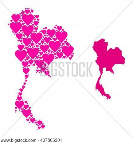 Love Collage And Solid Map Of Thailand. Mosaic Map Of Thailand Designed With Pink Love Hearts. Vecto