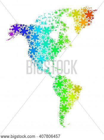 Spectrum Gradient Mosaic Of South And North America Map Constructed For Winter Sales. South And Nort
