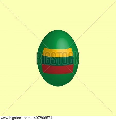 Easter Egg In The Colors Of The Lithuanian Flag. Lithuania Flag. Easter Chicken Egg. Christian Relig