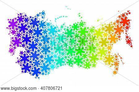Rainbow Gradient Mosaic Of Soviet Union Map Constructed For Winter Ads. Soviet Union Map Mosaic Is D
