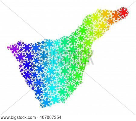 Bright Gradient Mosaic Of Tenerife Map Combined For Christmas Sales. Tenerife Map Mosaic Is Made Of