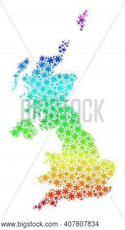 Rainbow Gradient Mosaic Of United Kingdom Map Designed For Winter Holidays. United Kingdom Map Mosai
