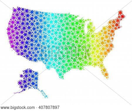 Spectrum Gradient Mosaic Of Usa With Alaska Map Created For Winter Holidays. Usa With Alaska Map Mos