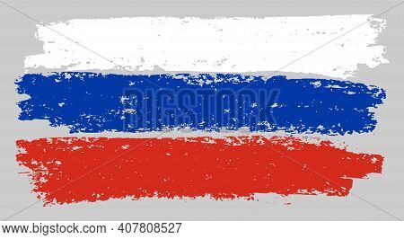 Russia Flag Chalk Illustration With Charcoal Effect. Vector Freehand Russia Flag In Official Colors.