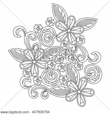 Floral Cartoon Vector Doodle Designs . Sketchy Compositions With Spring Doodles Objects And Holiday