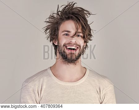 Man Morning Wake Up, Everyday Life. Insomnia, Energy, Single With Uncombed Hair. Sleepy Man With Bea