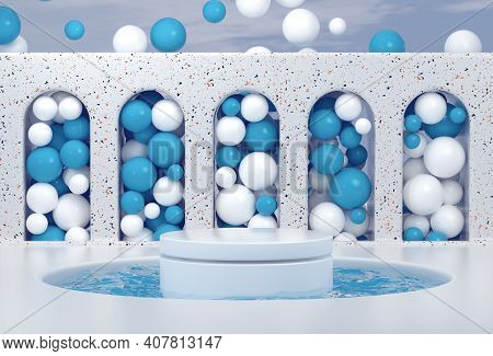 Abstract Minimal Scene With Podium. Cosmetic Showcase Background For Product Presentation. Mock-up F