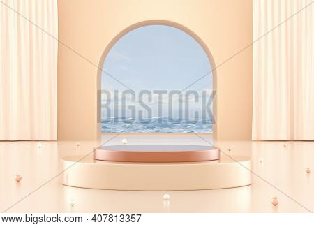 Pastel Colors 3d Podium For Cosmetic Products Showcase. 3d Background For Branding And Product Prese