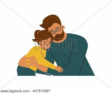 Vector Isolated Concept With Portrait Of Cartoon Characters. Young Single Father Hugs Little Daughte