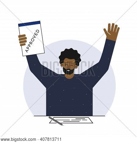 Vector Isolated Illustration. Flat Cartoon Style. Happy African American Man Sits At The Table With