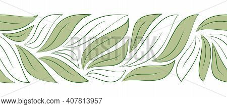 Horizontal Seamless Border As Green And White Leaves Isolated On White Background For Designs Eco Ca