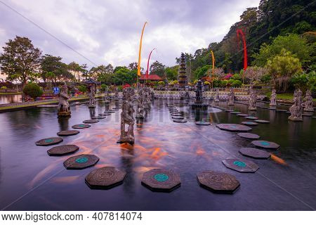 Water Palace With Fountain And Pond. Travel And Architecture Background. Panoramic View. Water Palac