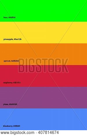Six Main Colors (primary And Secondary) With Fruit And Berry Colors. Hex Codes And Names Of The Colo