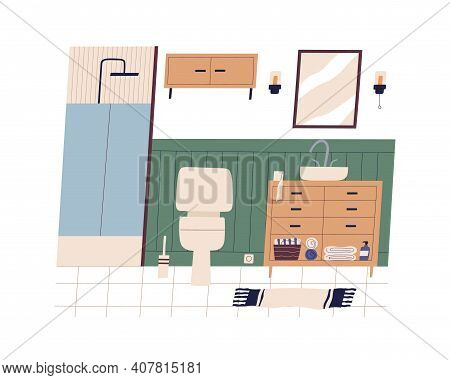Home Wc Or Bathroom Interior. Clean Restroom With Furniture And Accessories Toilet Bowl, Shower Cabi