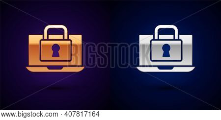 Gold And Silver Laptop And Lock Icon Isolated On Black Background. Computer And Padlock. Security, S