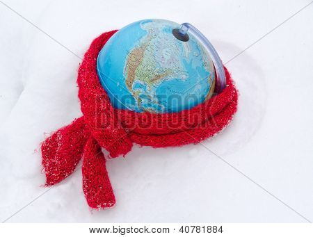 Red Scarf Earth Globe Sphere Winter Snow Concept