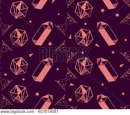 Set Of Magic Items Of Alchemy And Esoteric, Philosophical Magic Stone, Hourglass. Seamless Pattern I