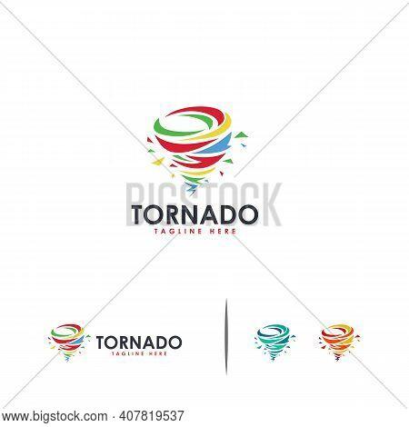 Colorful Tornado Logo Designs Concept Vector, Typhoon Logo Template Concept