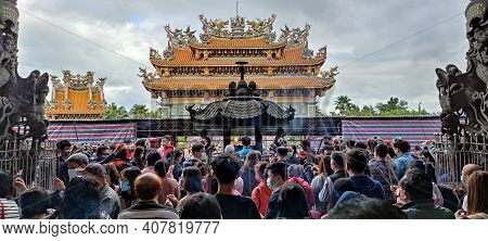 Zhulinshan Temple In Linkou, New Taipei City, Taiwan-12 Feb, 2021: The Lunar New Year's Day When The