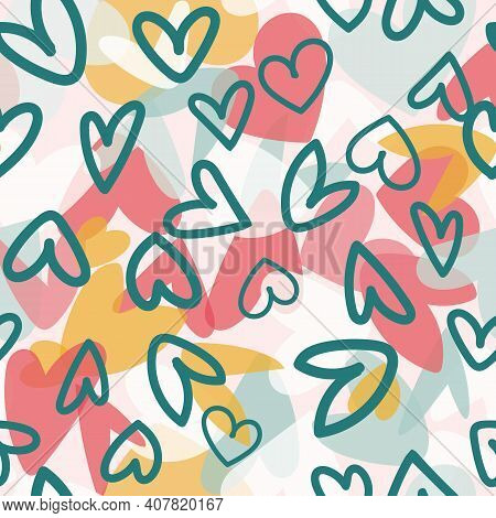 Valentine Love Heart Collage Seamless Pattern. Vector Illustration. Great For Valentines, Weddings,