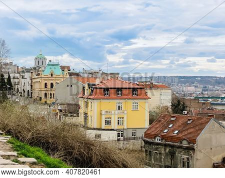 Belgrade, Serbia - March 09, 2013: View Of The Old City Center Of Belgrade From Kalemegdan Park. Bel