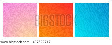 Set Of Three Colorful Turing Reaction Gradient Backgrounds. Abstract Diffusion Pattern With Chaotic