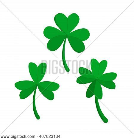 Vector Set Of Green Shamrocks Isolated On A White Background. Shamrock Can Be Used For Seasonal Desi