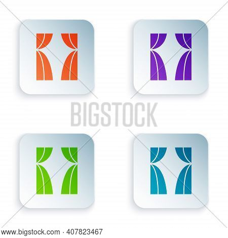 Color Circus Curtain Raises Icon Isolated On White Background. For Theater Or Opera Scene Backdrop,